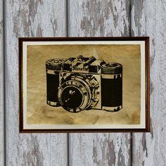 Old looking vintage art print Antique paper retro camera. $17.00, via Etsy.