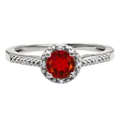 Round Cut Ruby Birthstone Diamond Sterling Silver Ring Available Exclusively at Gemologica.com