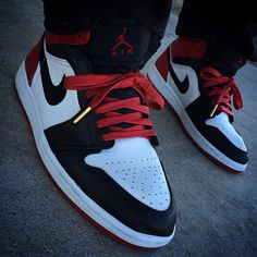 "cfd8e120503 Air Jordan 1 ""Black Toe"" with Red Wax Laced Up Laces All Wax Laces- 25% OFF  Today s Pre-Black Friday Special www.laceduplaces.com"