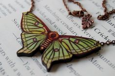 Green Luna Moth Necklace from Enchantedleaves.com on Etsy.