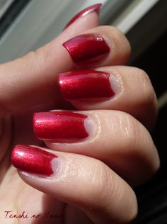 Dita von Tesse inspired red half moon mani