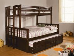 TWIN/FULL BUNK BED UNIVERSITY COLLECTION  Cm-Bk458F-Exp  This sturdy bunk bed features side ladder for easy access to top twin, lower full bed with twin trundle and roomy drawers underneath.  Bunk Bed Sale for $418