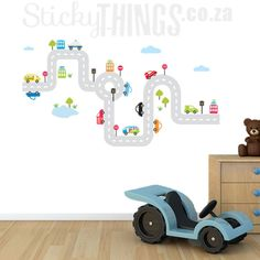 Our Roads Decal with Cars can be used as wall art or on a desk or floor too! Free Delivery in South Africa plus free clouds, grass, trees and a pond as well Wall Stickers, Decals, Free Cloud, Roads, Kids Rugs, Flooring, Wall Art, Baby, Home Decor