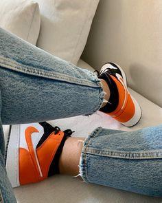 Orange Basketball Shoes Outfit,Jordan Sneakers,Fashion Air Jordan 1 Shoes Air Jordan Sneakers, Sneakers For Sale, Jordan Shoes, Jordans Sneakers, Jordan 1, Air Jordans, Orange Basketball Shoes, Shattered Backboard, Michael Jordan
