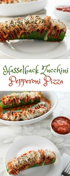 Hasselback Zucchini Pepperoni Pizza - Low Carb, Gluten Free   Peace Love and Low Carb  via @PeaceLoveLoCarb