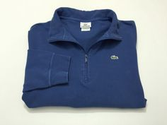 Lacoste Men's 6 L Solid Blue 1/2 Zip Long Sleeve Pullover Sweater Large #Lacoste #12Zip