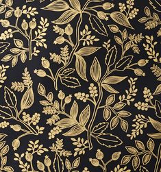Queen Anne (Ebony) Metallic Screen Printed, Rifle Paper Co. Could be an inspirational DIY, gold metallic marker on black paint. I like the pattern bigger/chunkier than this. Black Floral Wallpaper, Metallic Wallpaper, Textured Wallpaper, B&w Wallpaper, Pattern Wallpaper, Wallpaper Backgrounds, Motif Vintage, Vintage Design, Textures Patterns