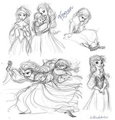 Frozen ( movie ) look at how young anna and how much older elsa look in this early concept art Disney Sketches, Disney Drawings, Art Drawings, Frozen Art, Disney Frozen, Frozen Movie, Olaf Frozen, Walt Disney Animation Studios, Disney Concept Art