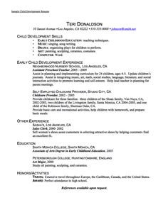 sample child development resume httpexampleresumecvorgsample child