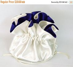 Satin Bridal Wedding Bag Ivory and Blue Violet With by EdieCastle Wedding Bags, Drawstring Backpack, Ivory, Satin, Backpacks, Bridal, Trending Outfits, Unique Jewelry, Handmade Gifts