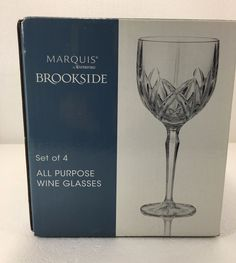 d518707c06e3 Waterford Marquis Brookside All Purpose Crystal Wine Glasses Goblets Set 4  NEW