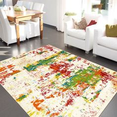 Artist Rugs 4440 75 Ivory and Multi-coloured - Free UK Delivery - The Rug Seller