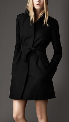 Burberry Short Cotton Gabardine Concealed Closure Trench Coat