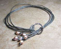 how to make a pearl and leather lariat necklace - Google Search