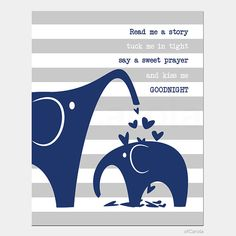 """Baby Nursery Quote Wall Art Print, PERSONALIZE Decor Stripes Navy Blue Gray White Read Me a Story Tuck Me In Tight Say a Sweet Prayer 8x10"""""""