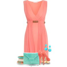 Coral and Teal by sophie-01 on Polyvore