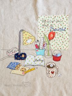 Minki's Work Table – Page 8 – Sewing Illustration Freehand Machine Embroidery, Free Motion Embroidery, Free Machine Embroidery, Cushion Embroidery, Embroidery Applique, Small Sewing Projects, Sewing Crafts, Applique Monogram, Handmade Tags