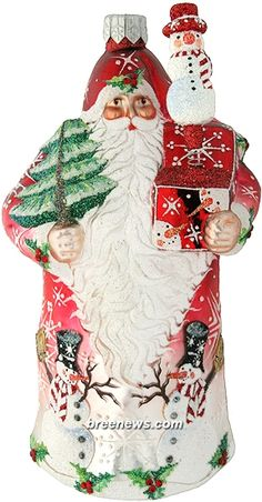 Surprise (Red) Patricia Breen (Green, Holly, Red, Snowflakes, Snowman, Christmas, Ornament)