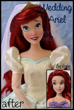 even though i am not a huge ariel fan, i love repainting her. this one used to be a classic disney store doll before. the character of ariel is owned by disney. Disney Barbie Dolls, Ariel Doll, Bratz Doll, Ooak Dolls, Wedding Doll, Doll Painting, Anime Dolls, Ariel The Little Mermaid, Doll Repaint