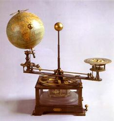 "TELLURIUM. French, late 19th century, height 17"", width 18"".  Signed: INSTRUMENT ASTRONOMIQUE M.VIVIEN DE ST MARTIN PAR AMBASSADE DE FRANCE DANS LE EMPIRE AUTRICHE-HONGARIE 1889. 17,000pounds.  driven by clockwork, devised to demonstrate the effect of the motion of the earth and the obliquity of its axis in causing the alternation of day and night, and the succession of the seasons. to teach ""the use of the globes"", as elementary astronomy was called."