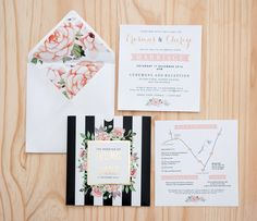 Black stripes and floral, accented with gold foil on this pocket style invitation