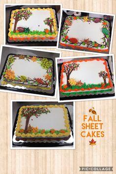 Fall cakes 2017 Fall Theme Cakes, Fall Birthday Cakes, Birthday Sheet Cakes, Fall Cakes, Themed Cakes, Creative Cake Decorating, Wilton Cake Decorating, Cake Decorating Techniques, Creative Cakes