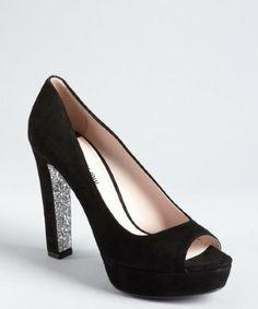 Black Suede Silver Glitter Peep Toe by Miu Miu #Shoes #Miu_Miu