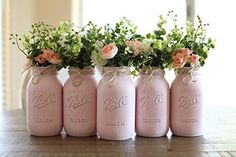 Brand: VivasFlowerShop Colors: Pink, White, Gray Details: OPTIONS AVAILABLE AT CHECKOUT: - 5 Pint (16 oz.) Mason Jars - WITH or WITHOUT artificial flowers - 5 Quart (32 oz.) Mason Jars - WITH or WITHOUT artificial flowers This beautiful rustic farmhouse-style mason jar set set makes a beautiful piece of rustic decor! WHAT IS INCLUDED IN THE 5 PIECE SET? - Five 16 oz. (Pint) size Ball Mason Jars - available with or without flowers OR - Five 32 oz. (Quart) size Mason Jars - available with or witho Girl Baby Shower Decorations, Girl Decor, Baby Shower Themes, Baby Boy Shower, Girl Baby Showers, Girl Christening Decorations, Baby Decor, Nursery Decor, Baby Shower Drinks