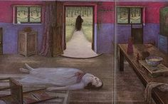 Angela Barrett Snow-White  From (1993) Snow White lies lifeless on the floor after a visit from her wicked stepmother. The picture has a dreamlike quality and a sinister origin. It was based on a photo by the war photographer Lee Miller of a girl whose Nazi father shot himself after poisoning his family. Barrett often consults photographs for composition, though her paintings don't simply reproduce what she sees.