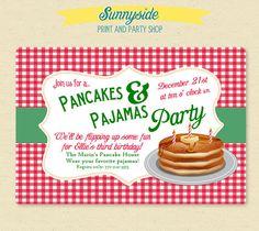 Christmas Pancakes & Pajamas Party Invite - Printable Invitation - Winter / Holiday