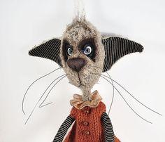 OOAK Mohair Artist  Cat Pumpkin the Mad Clown. by DarkAlley