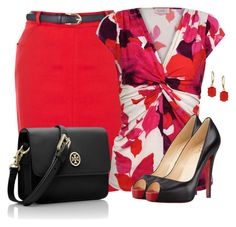 """""""Belted Skirt"""" by sherbear1974 ❤ liked on Polyvore featuring Oasis, Kaliko, Christian Louboutin, Tory Burch and Wallis"""