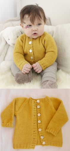 Free knitting pattern for an easy baby raglan cardigan -Baby Cardigan , Free knitting pattern for an easy baby raglan cardigan Free knitting pattern for an easy baby raglan cardigan knitting. Baby Knitting Free, Baby Cardigan Knitting Pattern Free, Baby Sweater Patterns, Sweater Knitting Patterns, Baby Patterns, Easy Baby Knitting Patterns, Knitting Ideas, Baby Boy Cardigan, Knitted Baby Cardigan