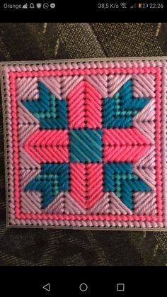 Best 12 Love the colours and pattern on this plastic canvas square – SkillOfKing. Plastic Canvas Box Patterns, Plastic Canvas Stitches, Plastic Canvas Coasters, Plastic Canvas Tissue Boxes, Plastic Canvas Crafts, Needlepoint Patterns, Cross Stitch Patterns, Plastic Canvas Christmas, Art N Craft