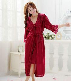 Miễn phí vận chuyển phụ nữ ren kích thước lớn dài nightdress đồ ngủ cộng với kích thước áo bộ áo choàng ngủ áo ngủ đêm ăn mặc A890-3