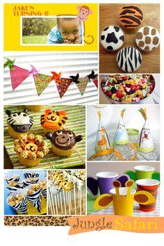Jungle safari theme birthday party inspiration board