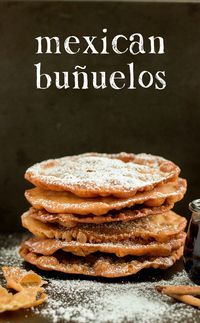 These Mexican Buñuelos are a traditional holiday dish! They're sweet and crispy tortilla-like fritters drizzled with a spiced brown sugar syrup.