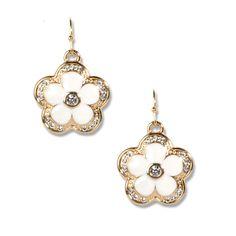 MLA - Margaret Lavish Accessories - Monroe Stud Earrings, $24.00  Pearl enamel and gold flowers on an open wire with glitzy accents.(http://margaretlavish.com/jewelry/monroe-stud-earrings/)
