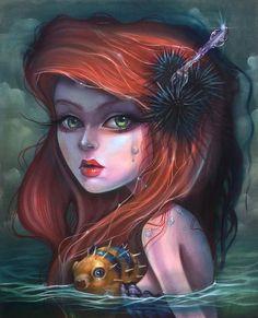 The Little Mermaid- Print · Kurtis Rykovich · Online Store Powered by Storenvy Princesa Ariel Disney, Princesas Disney, Little Mermaid Art, Arte Lowbrow, Twisted Disney, Pop Surrealism, Illustrations, Gothic Art, Disney Art