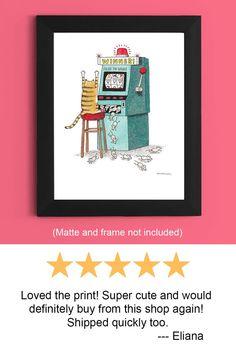 Gaming Poster Encouraging Signs Gaming Decor   Etsy Funny Bathroom Art, Bathroom Humor, Crazy Cat Lady, Crazy Cats, Gaming Posters, Funny Art, Slot Machine, Dog Art, Signs