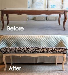 coffee table becomes a bench