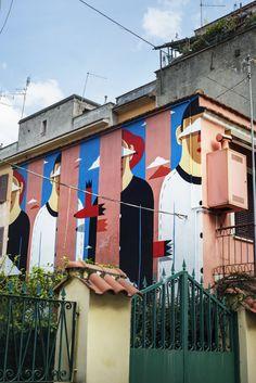 Pink house - mural by Agostino Iacurci in Rome, Italy (Torpignattara)