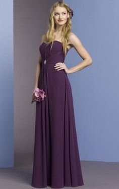 Cheap Simple A-line Strapless Empire Floor Length Purple Bridesmaid Dress