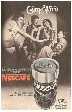 Vintage ad for Nescafe Coffee. Vintage India, Vintage Ads, Vintage Prints, Vintage Posters, Retro Posters, Vintage Ephemera, Old Advertisements, Advertising, Creative Advertising