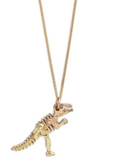 I Dig It Necklace | First thing's 'fossil' - button your khaki safari dress over your figure, dust off your vintage Oxfords, and lobster-clasp this long Tyrranosaurus necklace over your geological-chic outfit. A golden accessory that's beautiful to the bone, this awesome design will always find you looking your absolute best!