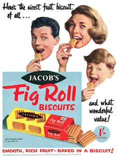Here is a 1958 advertisement for Jacob's Fig Rolls. 1950s Ads, Retro Ads, Vintage Ads, Vintage Posters, Retro Food, 1950s Food, Vintage Food, Vintage Prints, Vintage Style