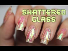 Pink Shattered Glass Nail Art with TUTORIAL (using pearlescent cellophane)  - Lucy's Stash
