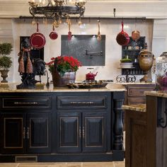 Distressed Black Kitchen Island Design Ideas, Pictures, Remodel, and Decor