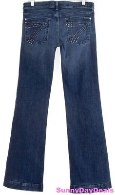 7 For All Mankind Womens Jeans Dojo Crystals Wide Leg High Rise Zip Fly Blue 31  #7ForAllMankind #WideLeg