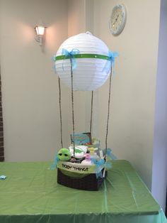 Hot air balloon baby shower basket. | Sherry's diaper cakes ...